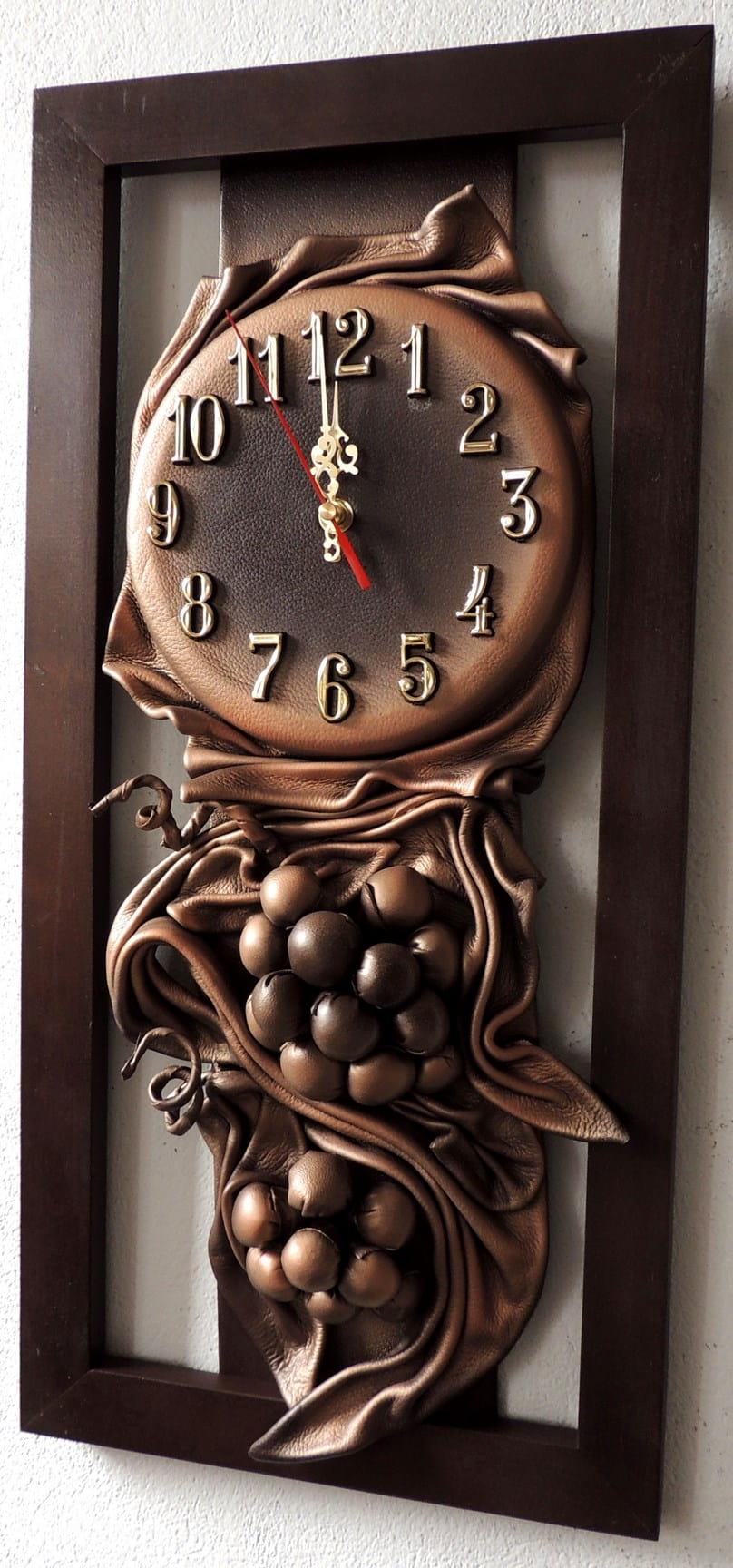 Wąski Zegar ścienny Do Przedpokoju Drewno Skóra Rz4 1