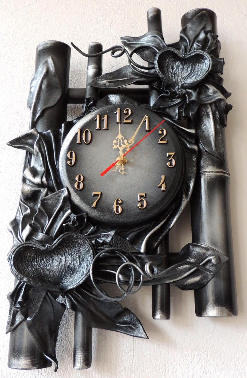 Wyjątkowy Zegar ścienny Popiel Czarno Srebrny Egzotyczne Dodatki Kształt Serca B13 12
